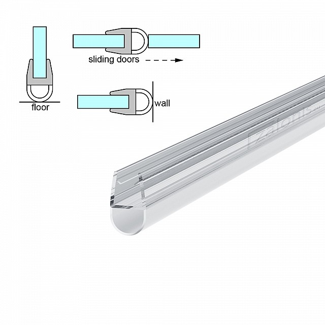 D SHAPED SHOWER DOOR SEAL FOR 6-8mm GLASS
